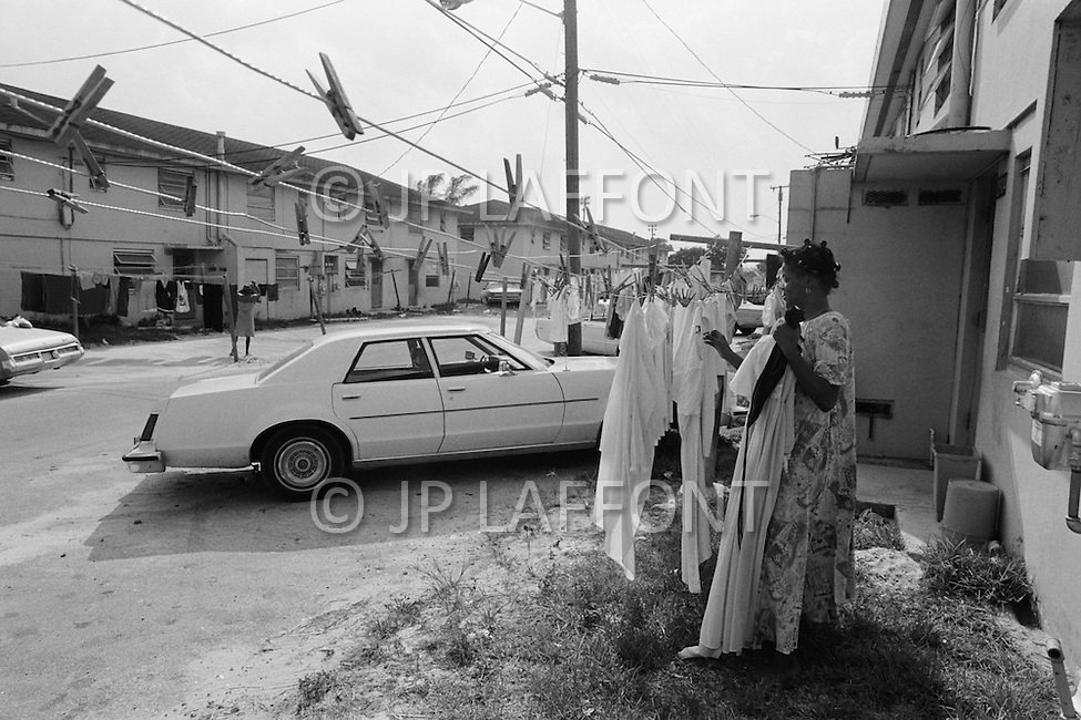 September 1980, Miami, Florida, USA Local inhabitants of a Miami ghetto. Image by © JP Laffont