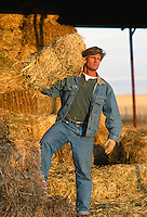 Man moving hay from a hay stack on a ranch in New Mexico