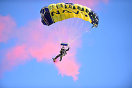 Baltimore, MD - DEC 10, 2016: Navy Leapfrogs parachute into the stadium before the game between Army and Navy at M&T Bank Stadium, Baltimore, MD. (Photo by Phil Peters/Media Images International)
