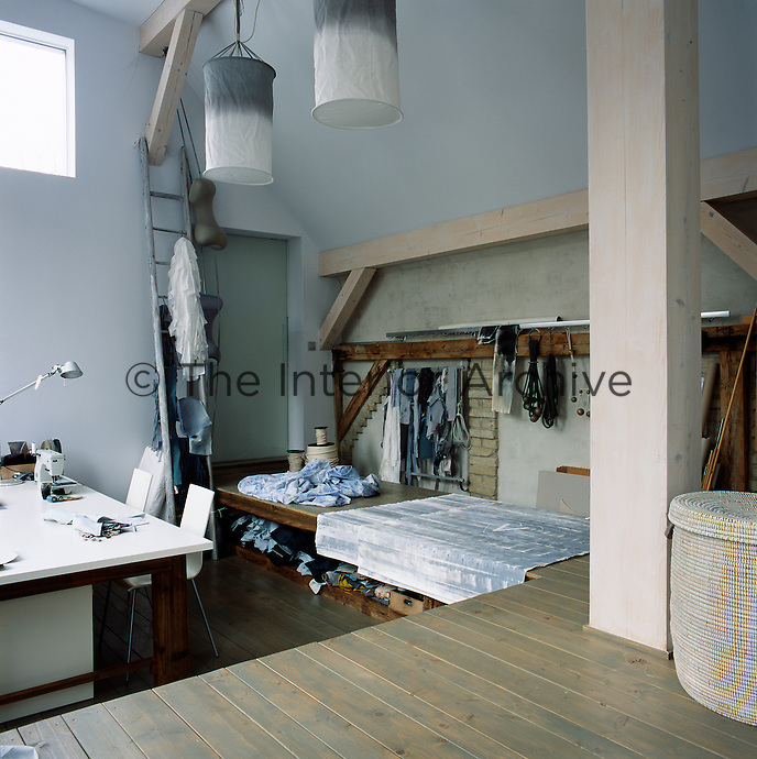 Sabine Fajana's studio where she creates the homeware items including linen, lights, blankets, and rugs, which she sells under her brand VIVIDGREY