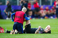 Matt Banahan of Bath Rugby is treated for an injury. European Rugby Challenge Cup Quarter Final, between Bath Rugby and CA Brive on April 1, 2017 at the Recreation Ground in Bath, England. Photo by: Patrick Khachfe / Onside Images
