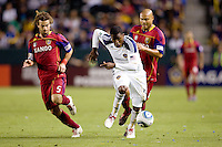LA Galaxy forward Edson Buddle (14) moves to the goal with Real Salt Lake midfielder Kyle Beckerman (5) in tow. The LA Galaxy defeated Real Salt Lake 2-1 at Home Depot Center stadium in Carson, California on Saturday April 17, 2010.  .