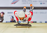 9 January 2016: Ronald Auderset, competing for Switzerland, pushes off for his first and only run start of the BMW IBSF World Cup Skeleton race at the Olympic Sports Track in Lake Placid, New York, USA. Auderset had a run time of 56.33 and did not have a second run. Mandatory Credit: Ed Wolfstein Photo *** RAW (NEF) Image File Available ***