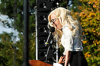 International pop diva Lady Gaga addresses a crowd of thousands at the National Equality March rally, Sunday, Oct. 11, 2009. The march wound through downtown Washington, DC and the National Mall before culminating at the Capitol Building. Gaga and other LGBT rights icons such as NAACP President Julian Bond and activist Cleeve Jones called for full legal equality across the country, marking the 30th anniversary of the first such march, led by Harvey Milk in 1979. (Joseph Shemuel/pressphotointl.com)