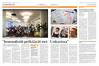 Helsingin Sanomat (leading Finnish daily) on the forced shutdown of the oppositional daily Nepszabadsag, Hungary, October 2016<br /> Photos: Martin Fejer