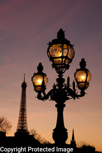 Lamppost and the Eiffel Tower, Paris, France