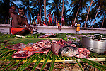 A Moluccan man slaughters a freshly caught green turtle (Chelonia mydas)