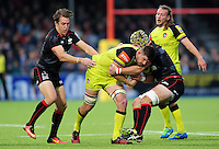 Mike Fitzgerald of Leicester Tigers takes on the Saracens defence. Aviva Premiership match, between Saracens and Leicester Tigers on October 29, 2016 at Allianz Park in London, England. Photo by: Patrick Khachfe / JMP
