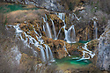 A series of waterfalls knowm as 'Sastavci' that cascade between mountain lakes, Plitvice Lakes National Park, Croatia. January.