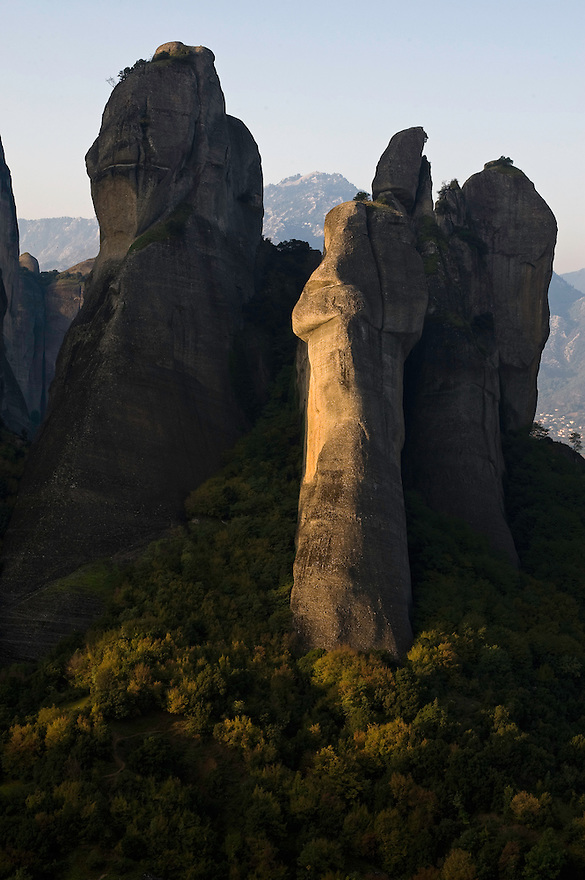 Greece, Meteora, landscape and cliffs in sunrise