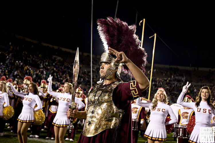 10/17/09 - South Bend, IN:  The USC drum major salutes the crowd following USC's win over Notre Dame at Notre Dame Stadium on Saturday.  USC won the game 34-27 to extend its win streak over Notre Dame to 8 games.  Photo by Christopher McGuire.