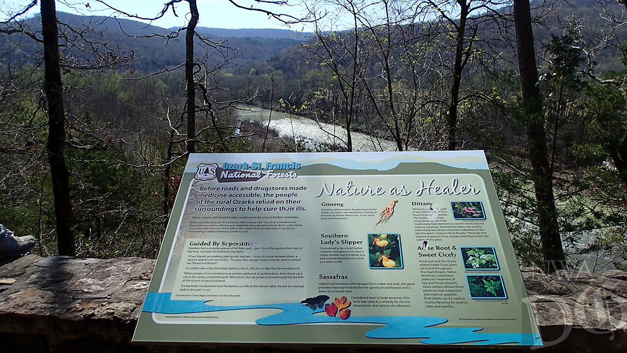 NWA Democrat-Gazette/FLIP PUTTHOFF <br /> Interpretive signs along the byway    March 26 2017    tell the history of the Mulberry River area.