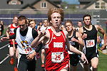 Boise High junior Thomas Rigby signals number one as he crosses the finish line during the 800 meter run at the YMCA Track and Field Invite on April 28, 2012 at Rocky Mountain High School, Meridian, Idaho. Rigby finished in 1:57.94 followed by Capital's Nathan Stark (1:58.68) and Rocky Mountain's Justin Ross (1:59.32).