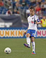 Montreal Impact defender Jeb Brovsky (15) passes the ball. In a Major League Soccer (MLS) match, Montreal Impact defeated the New England Revolution, 1-0, at Gillette Stadium on August 12, 2012.