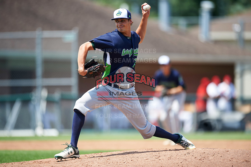 Vermont Lake Monsters relief pitcher Dalton Sawyer (37) during a game against the Auburn Doubledays on July 13, 2016 at Falcon Park in Auburn, New York.  Auburn defeated Vermont 8-4.  (Mike Janes/Four Seam Images)