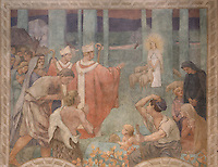 Germanus of Auxerre  and Saint Loup, bishop of Troyes, blessing Sainte Genevieve, fresco in the Northern transept, 1926 - 1927, directed by Maitre Paul Baudoin, Nanterre Cathedral (Cathédrale Sainte-Geneviève-et-Saint-Maurice de Nanterre), 1924 - 1937, by architects Georges Pradelle and Yves-Marie Froidevaux, Nanterre, Hauts-de-Seine, France. Picture by Manuel Cohen