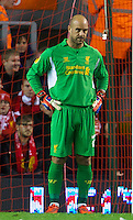 LIVERPOOL, ENGLAND - Thursday, October 4, 2012: Liverpool's goalkeeper Jose Reina looks dejected as Udinese Calcio score the second goal during the UEFA Europa League Group A match at Anfield. (Pic by David Rawcliffe/Propaganda)