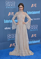 Lily Collins at the 22nd Annual Critics' Choice Awards at Barker Hangar, Santa Monica Airport. <br /> December 11, 2016<br /> Picture: Paul Smith/Featureflash/SilverHub 0208 004 5359/ 07711 972644 Editors@silverhubmedia.com