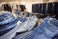 Jeans displayed in the only brick and mortar store of the Gap's Piperlime online brand in the Soho neighborhood of New York on Saturday, January 24, 2015. The Gap announced that it is pulling the plug on the Piperlime brand, which never reached the company's expectation by the end of the first quarter of 2015.(© Richard B. Levine)