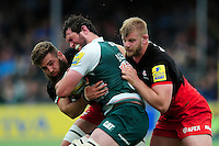 Dom Barrow of Leicester Tigers is double-tackled by Will Fraser and George Kruis of Saracens. Aviva Premiership semi final, between Saracens and Leicester Tigers on May 21, 2016 at Allianz Park in London, England. Photo by: Patrick Khachfe / JMP