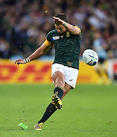 Handre Pollard of South Africa kicks for the posts. Rugby World Cup Pool B match between South Africa and the USA on October 7, 2015 at The Stadium, Queen Elizabeth Olympic Park in London, England. Photo by: Patrick Khachfe / Onside Images