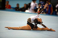 Catalina Ponor of Romania performs on floor exercisel on way to winning bronze medal in this women's senior event final at 2006 European Championships Artistic Gymnastics at Volos, Greece on April 30, 2006.  Ponor announced afterward this would be the finish to her active gymnastic career. (Photo by Tom Theobald)