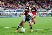 Telusa Veianu of Leicester Tigers runs in a second half try. Aviva Premiership semi final, between Saracens and Leicester Tigers on May 21, 2016 at Allianz Park in London, England. Photo by: Patrick Khachfe / JMP