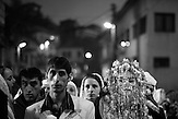Djamal Sirakov and Fatme Ulanova are walking down the streets during the celebration of their wedding ceremony in the village of Ribnovo.