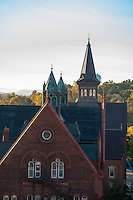 View of Williams Hall and Old Mill, Fall UVM Campus