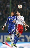 Football: Germany, 1. Bundesliga, Hamburger SV (HSV) - FC Schalke 04, Hamburg, 27.11.2012.Jermaine Jones (Schalke, l.) - Marcell Jansen (HSV) .© pixathlon