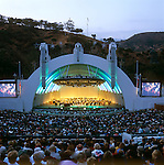 The L.A. Philharmonic Orchestra performs at the historic Hollywood Bowl in Los Angeles, CA