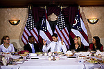 "Republican vice presidential candidate Rep. Paul Ryan speaks at a dinner meeting with ""concerned voters"" at Tat Restaurant in Columbus, Ohio, October 17, 2012."