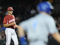 NWA Democrat-Gazette/ANDY SHUPE<br />Arkansas reliever Jake Reindl watches as Memphis center fielder Tyler Webb circles the bases Tuesday, April 18, 2017, after hitting a solo home run during the fourth inning at Baum Stadium. Visit nwadg.com/photos to see more photographs from the game.