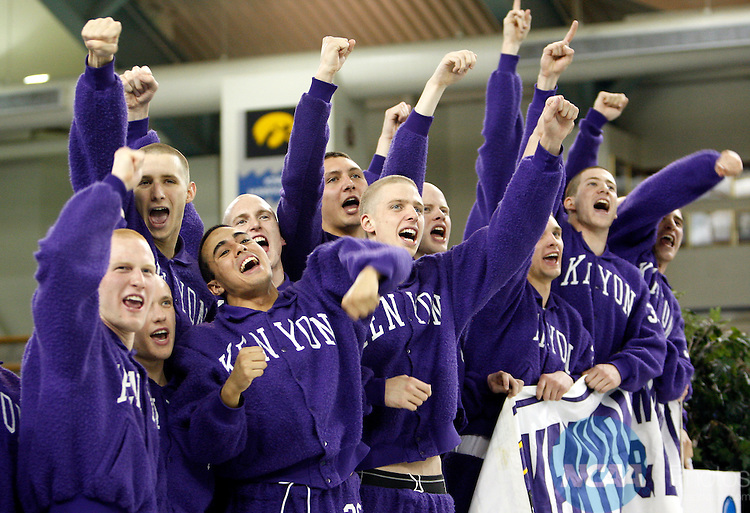 20 MAR 2010:  Kenyon College men's swimmers celebrate on the podium with their fans in the stands after winning the overall team championship during the Division III Men's and Women's Swimming and Diving Championships held at the University Aquatic Center on the University of Minnesota campus in Minneapolis, MN.  Carlos Gonzalez/NCAA Photos
