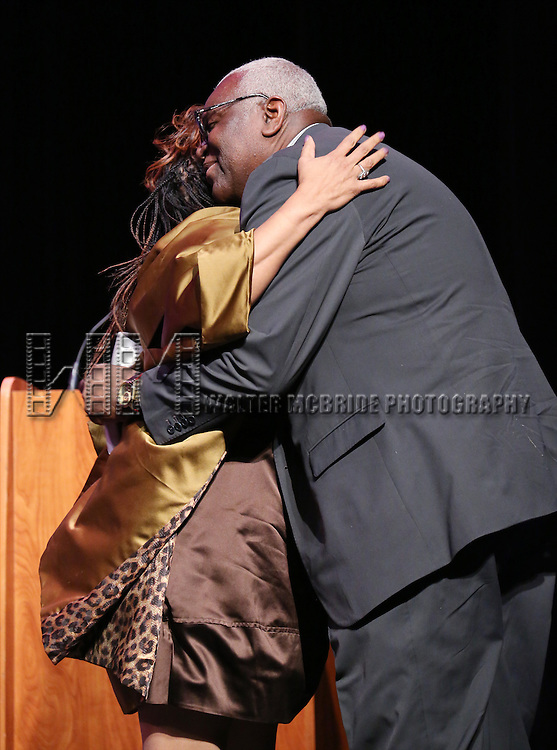 Valerie Simpson and Woodie King Jr. performs at Woodie King Jr.'s New Federal Theatre 44th Anniversary Gala honoring Voza Rivers at BMCC Tribeca Performing Arts Center on March 16, 2014 in New York City.
