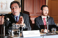 NO REPRO FEE. 20/5/2011. Irish Council for Civil Liberties- Tell UN of Irelands failure to combat inhuman and degrading treatment. Pictured at a press Briefing in Buswells Hotel, Dublin are L-R Mark Kelly, Director, Irish Council for Civil Liberties and John Stanly, Irish Refugee Council.  Picture James Horan/Collins Photos