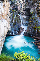 Lower Johnston Canyon Falls, Johnston Canyon is a beautiful slot canyon in Banff National Park.