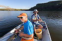 WA11781-00...WASHINGTON - Jim Johansen and Phil Russell fishing the Snake River near Lyons Ferry. (MR# J5 - R8)