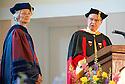 Elizabeth Ezerman, Ph.D., left, Rodney Parsons, Ph.D. Commencement, class of 2013.