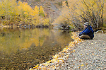 Man resting amid fall colors along Convict Lake, Inyo National Forest, California