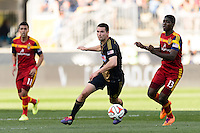 Austin Berry (4) of the Philadelphia Union. Real Salt Lake and the Philadelphia Union played to a 2-2 tie during a Major League Soccer (MLS) match at PPL Park in Chester, PA, on April 12, 2014.