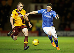 Motherwell v St Johnstone..30.12.15  SPFL  Fir Park, Motherwell<br /> Liam Grimshaw and Tam Scobbie<br /> Picture by Graeme Hart.<br /> Copyright Perthshire Picture Agency<br /> Tel: 01738 623350  Mobile: 07990 594431