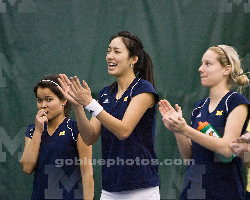 University of Michigan women's tennis vs  Baylor University on 2/26/10 at the Varsity Tennis Center..