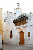 The Grand Mosque, 19th century, El-Jadida, Morocco. El Jadida, previously known as Mazagan (Portuguese: Mazag√£o), was seized in 1502 by the Portuguese, and they controlled this city until 1769. The converted lighthouse minaret is visible in the background. The grand Mosque is claimed to home the world's only pentagonal minaret. Picture by Manuel Cohen