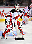9 January 2010: New Jersey Devils' goaltender Martin Brodeur warms up prior to a game against the Montreal Canadiens at the Bell Centre in Montreal, Quebec, Canada. The Devils edged out the Canadiens 2-1 in overtime. Mandatory Credit: Ed Wolfstein Photo