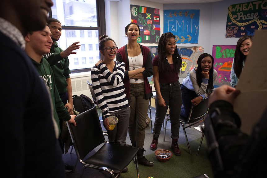 Members of the Babsou Posse 11, during small group activities at the Posse Foundation in New York, NY on April 01, 2014.Students in the Posse Foundation are chosen as scholars and go through college prep together as seniors in high school then attend the same college campus together where they get ongoing support. The Posse Foundation has identified, recruited and trained 5,544 public high school students with extraordinary academic and leadership potential to become Posse Scholars over the past 25 years.
