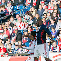Foxborough, Massachusetts - March 12, 2016: First half action. In a Major League Soccer (MLS) match, the New England Revolution (blue/white) vs D.C. United (white), 0-0 (halftime), at Gillette Stadium.