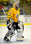 29 December 2007: Quinnipiac University Bobcats' goaltender Bud Fisher, a Junior from Peterborough, Ontario, in action against the Western Michigan University Broncos at Gutterson Fieldhouse in Burlington, Vermont. The Bobcats defeated the Broncos 2-1 in the first game of the Sheraton/TD Banknorth Catamount Cup Tournament...Mandatory Photo Credit: Ed Wolfstein Photo