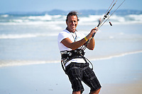 The last leg of the 2010 PKRA World Kiteboarding Tour has come to the Gold Coast, Australia - Just enough wind to land board with a big kite - Monti's out having fun...
