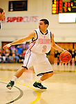 13 February 2011: University of Vermont Catamount guard Joey Accaoui, a Senior from Lincoln, RI, in action against the Binghamton University Bearcats at Patrick Gymnasium in Burlington, Vermont. The Catamounts came from behind to defeat the Bearcats 60-51 in their America East matchup. The Cats took part in the National Pink Zone Breast Cancer Awareness Program by wearing special white jerseys with pink trim. The jerseys were auctioned off following the game with proceeds going to the Vermont Cancer Center. Mandatory Credit: Ed Wolfstein Photo